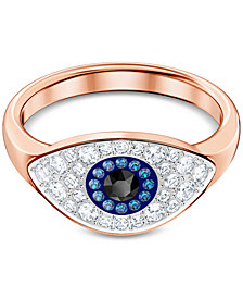 Swarovski Rose Gold-Tone Crystal Evil Eye Ring