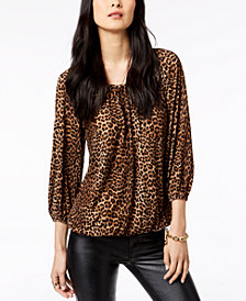 MICHAEL Michael Kors Leopard-Print Peasant Top, In Regular & Petite Sizes