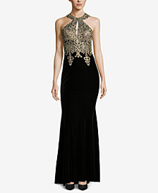 XSCAPE Petite Embroidered Velvet Gown