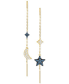 Swarovski Two-Tone Crystal Moon & Star Mismatch Threader Earrings