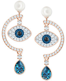 Swarovski Rose Gold-Tone Crystal & Imitation Pearl Evil Eye Drop Earrings
