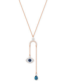 "Swarovski Rose Gold-Tone Crystal & Imitation Pearl Evil Eye 14-3/4"" Lariat Necklace"