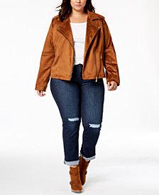 Jou Jou Juniors' Plus Size Faux-Suede Moto Jacket