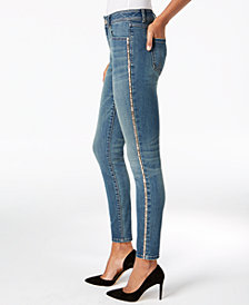 I.N.C. Petite Sparkle Side-Seam Skinny Jeans, Created for Macy's