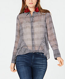 I.N.C. Ruffled Houndstooth Button-Front Shirt, Created for Macy's