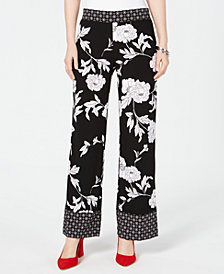 I.N.C. Petite Woven Printed Wide Leg Pants, Created for Macy's