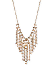 "Givenchy Gold-Tone Stone Fringe 22"" Statement Necklace"