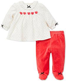 Little Me Baby Girls 2-Pc. Velour Printed Tunic & Pants Set