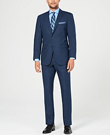 Men's Slim-Fit Comfort Stretch Medium Blue Sharkskin Suit