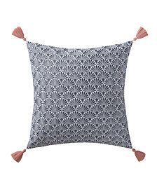 "Oceanfront Resort Indienne Paisley Embroidered Scallop 18"" x 18"" Decorative Pillow"
