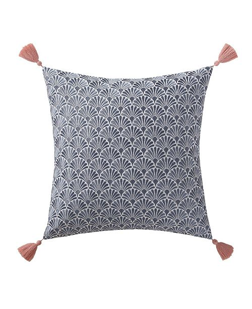 """Oceanfront Resort Indienne Paisley Embroidered Scallop 18"""" x 18"""" Decorative Pillow"""