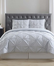 Everyday Gingham Pinch Pleat 3 Pc King Duvet Cover Set
