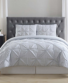 Truly Soft Everyday Gingham Pinch Pleat 2 Pc Twin XL Comforter Set