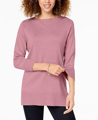 Karen Scott Side Ribbed Boat Neck Sweater Created For Macys