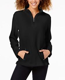 Karen Scott Petite Zip-Neck Top, Created For Macy's