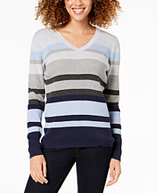 Karen Scott Petite V-Neck Striped Sweater, Created for Macy's