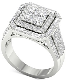Diamond Square Halo Engagement Ring (1-3/4 ct. t.w.) in 14k White Gold