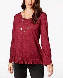 Style & Co Ruffled-Hem T-Shirt, Created for Macy's