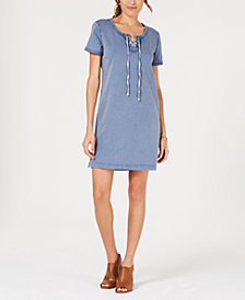 Style & Co Lace-Up Cotton T-Shirt Dress, Created for Macy's