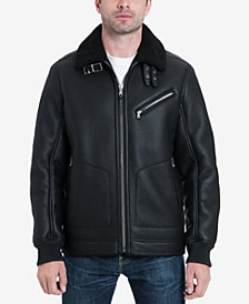 MICHAEL Michael Kors Men's Faux-Leather Sherpa Fleece-Collar Bomber Jacket