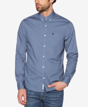 ORIGINAL PENGUIN Slim Fit Dotted Sport Shirt in Dark Sapphire