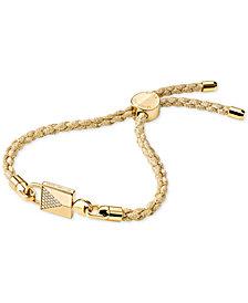 Michael Kors Women's Custom Kors Sterling Silver Pave Cord Bracelet