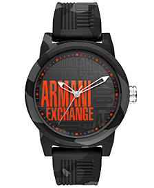 A|X Armani Exchange Men's ATLC Gray Camouflage Silicone Strap Watch 46mm