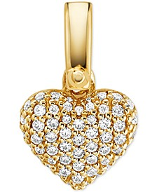 Women's Custom Kors Sterling Silver Pave Heart Charm