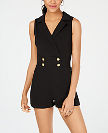 Almost Famous Juniors' Button-Front Blazer Romper