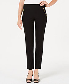JM Collection Zip-Pocket Straight-Leg Pants, Created for Macy's