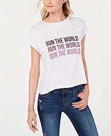 Bar III Graphic-Print Cropped T-Shirt, Created for Macy's
