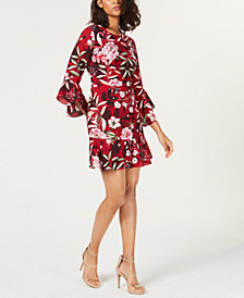 Bar III Printed Bell-Sleeve Dress, Created for Macy's