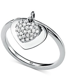 Women's Kors Love CZ Pavé Heart Sterling Silver Ring