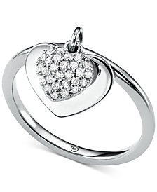 Michael Kors Women's Kors Love CZ Pavé Heart Sterling Silver Ring