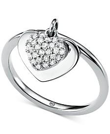 Michael Kors Women's Kors Love CZ Pavé Heart Sterling Silver Ring
