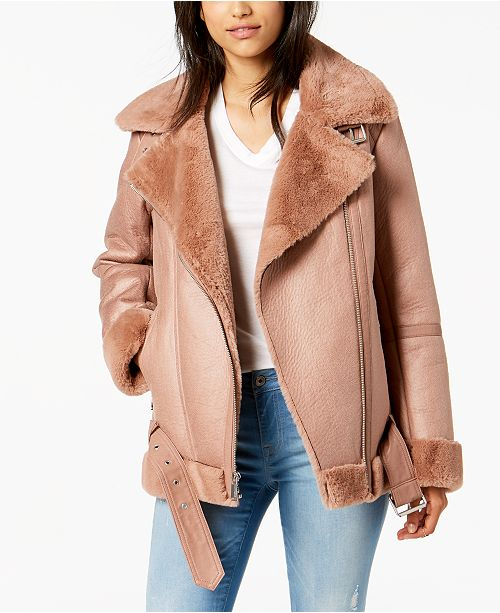 Trim Faux Fur Jacket BCBGeneration Blush Moto aPqwxEaHnU