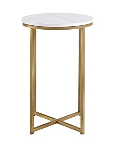 "16"" Modern White Faux-Marble Side Table with Gold Base"