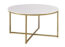 "36"" White Faux-Marble Coffee Table with Gold Metal X-Base"