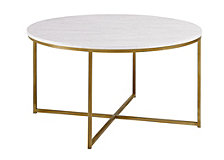 "36"" Modern Coffee Table with X-Base - Marble/Gold"