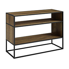"40"" Rustic Metal and Wood Open Shelf Storage TV Stand Media Console - Rustic Oak"