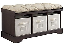 "42"" Wood Storage Bench with Totes and Cushion - Espresso"