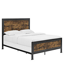 Queen Size Industrial Wood and Metal Bed - Brown