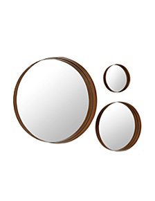 Banded Round Copper Metal Wall Mirrors - Set of 3