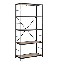"63"" 4-Shelf Rustic Metal and Wood Media Bookcase - Driftwood"