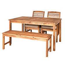Outdoor Classic Contemporary Acacia Wood Simple Patio 4-Piece Dining Set - Brown
