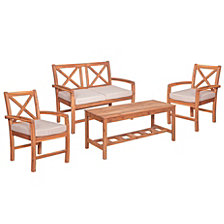 4-Piece X-Back Acacia Wood Outdoor Patio Conversation Set with Cushions - Brown
