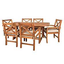 7-Piece X-Back Acacia Outdoor Patio Dining Set with Cushions -Brown
