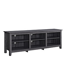 "58"" Modern Wood Storage Media Console TV Stand - Black"