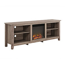 """70"""" Rustic Farmhouse Electric Fireplace Wood Media TV Stand Storage Console - Driftwood"""