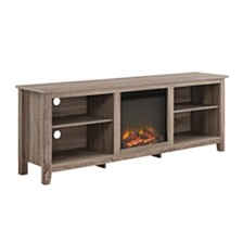 "70"" Wood Media TV Stand Console with Fireplace - Driftwood"